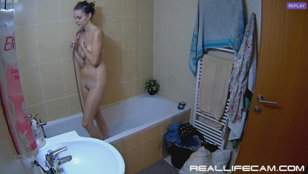 RealLifeCam Julia Sexy Nude Babe Shower in Bathroom