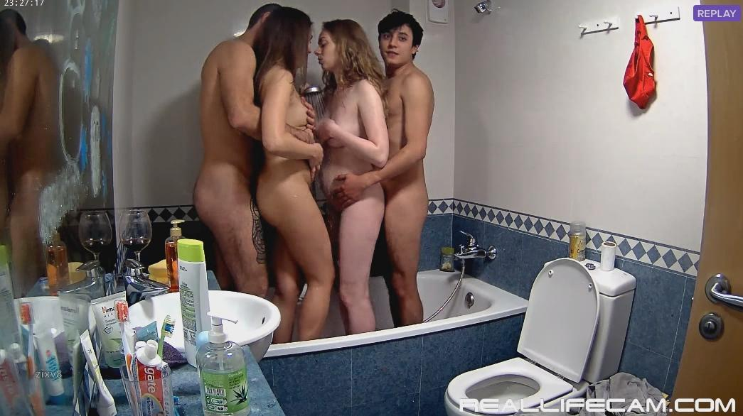 Neia and Beatrice Showering with boyfriends RealLifeCam HD 2018 Video