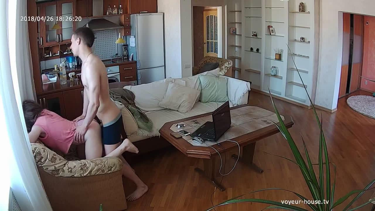 Polly and Ray dinnertime fucking in Living room at Voyeur House HD videos