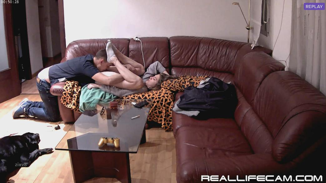 RealLifeCam Martina and Alberto Pussy Licking in living room