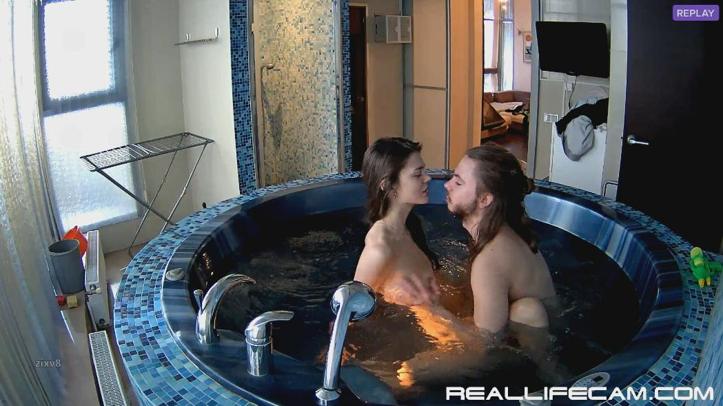 RealLifeCam Anabel and Efim Dick Riding in Jacuzzi