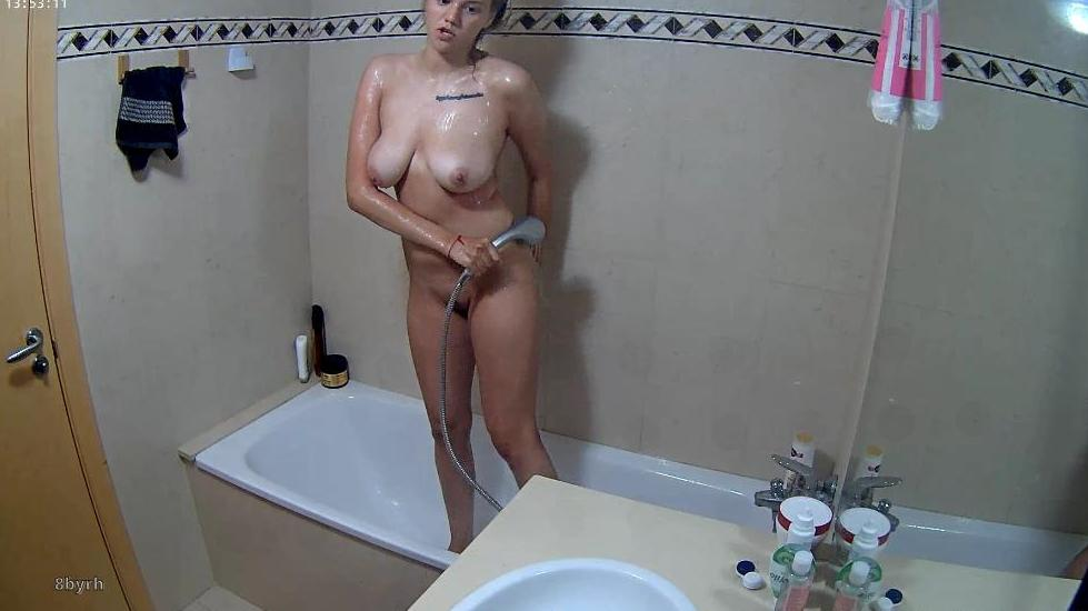 RealLifeCam Aria Big Boobs TEEN Shower in Bathroom
