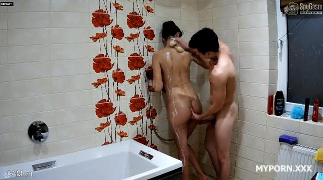 Eugene and Megan enjoy music together in the shower
