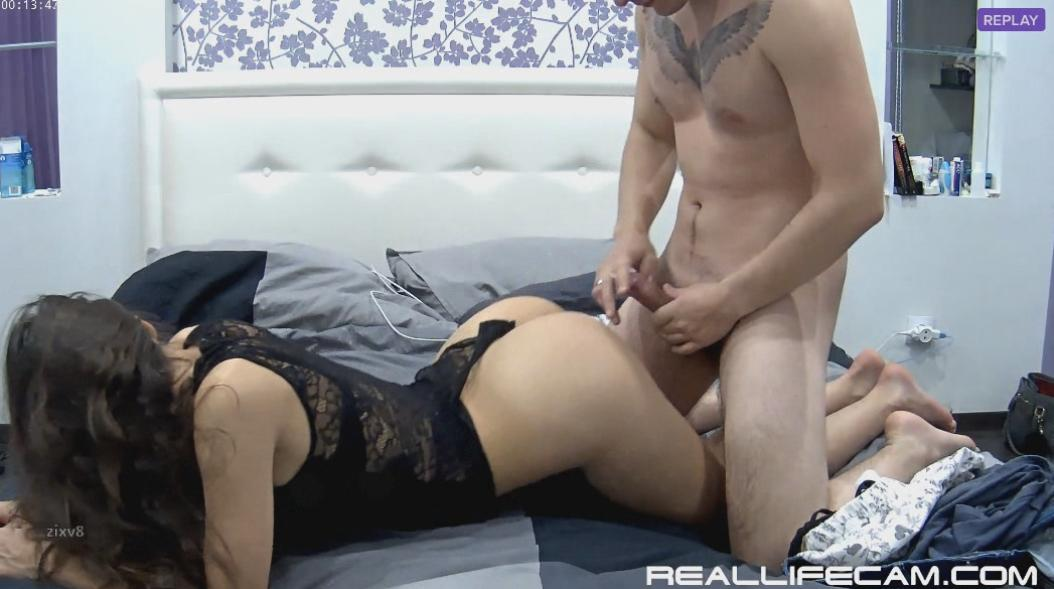RealLifeCam Adeline and Markus Teen Body Stocking Lingerie Rough Fuck