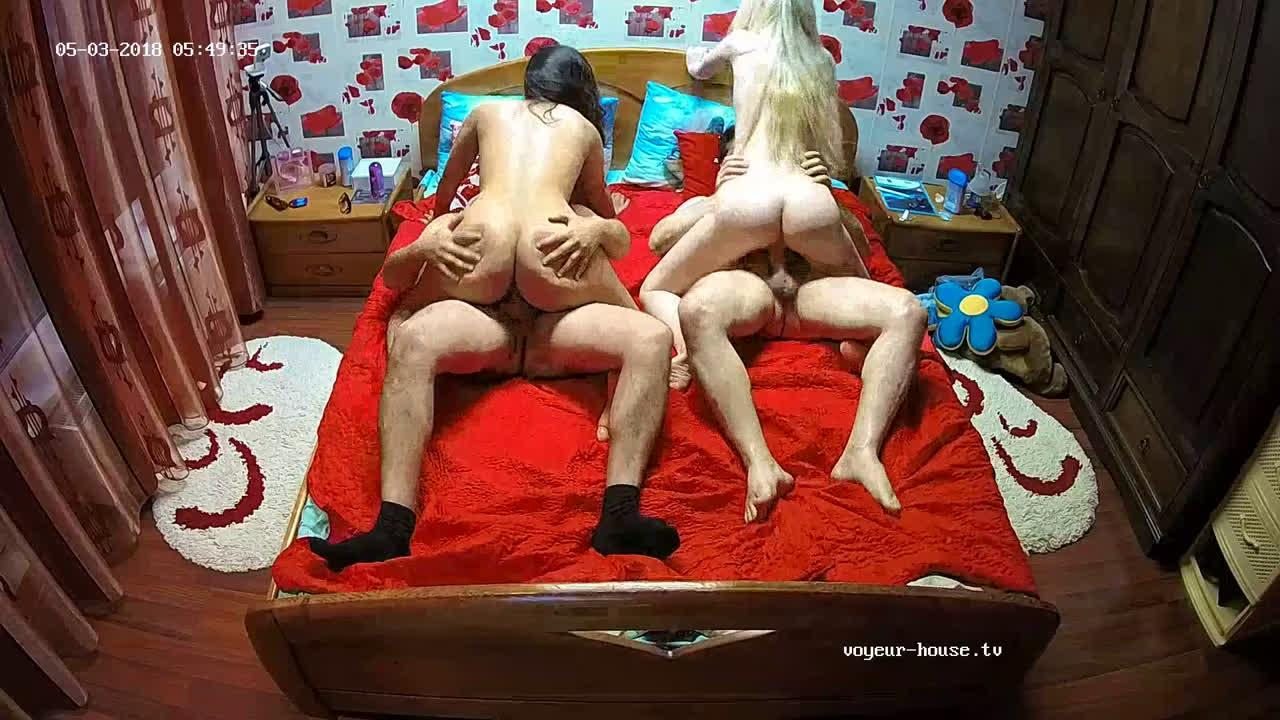 Real Teen Couple 4some Orgy with Julya & Raul in Bedroom at Voyeur House HD videos