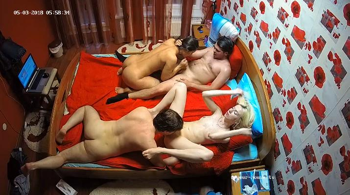 Nice 4some Orgy with Julya & Raul in Bedroom at Voyeur House HD videos