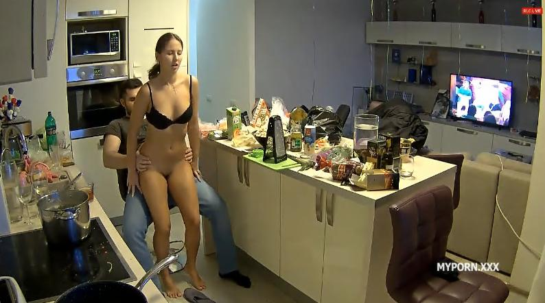Reallifecam Lana and Robert Dick Riding in Kitchen