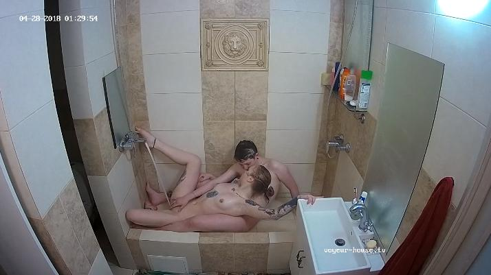 Foxy and Kira shower & waterbate in Shower at Voyeur House Lesbian HD videos