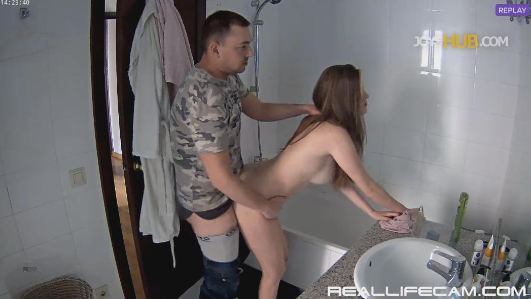 RealLifeCam Martina and Alberto Doggy Sex in Bathroom