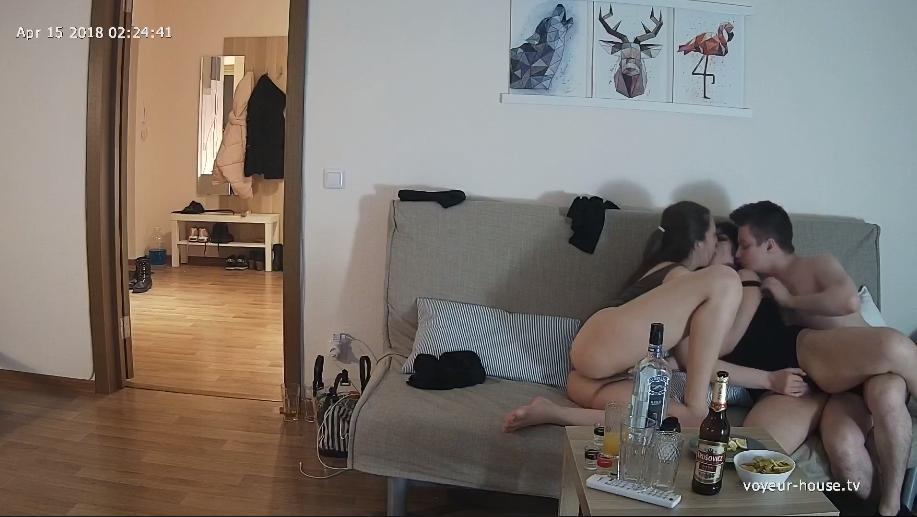 Em & Sid, Lexy & Pete Oh no! Soft sex in Living room at Voyeur House HD videos