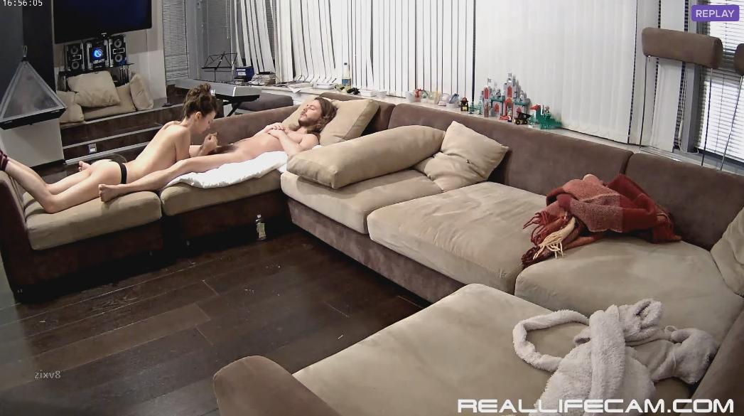 RealLifeCam Anabel and Efim Young Couple Long Sex in Living room