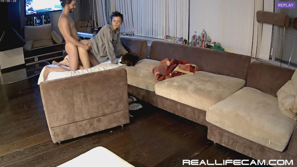 RealLifeCam Anabel and Efim passionate fuck and riding in Living room