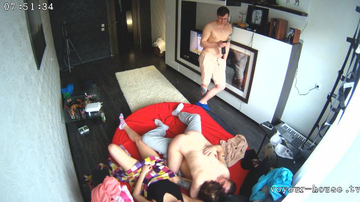 Anna and Em, Lexy and Pete friends part 3 Swingers in Living room at Voyeur House HD videos