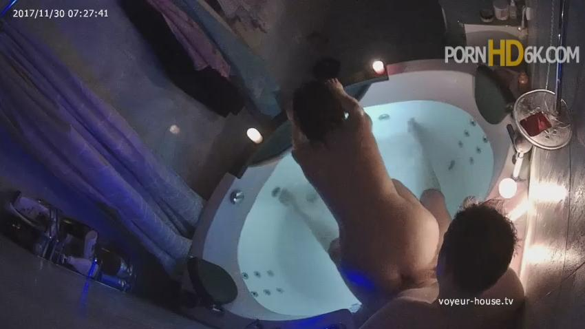 Anastasia and Rock bath and Sex in Jacuzzi at Voyeur House HD Videos